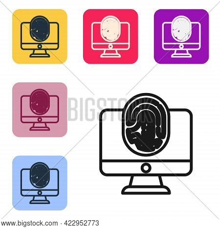 Black Line Monitor With Fingerprint Icon Isolated On White Background. Id App Icon. Identification S