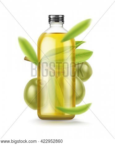 Olive Oil glass bottle. Realistic green olives branch leaves. Extra virgin olive oil mockup design, natural organic cosmetics, healthcare product isolated on white background. 3D illustration.