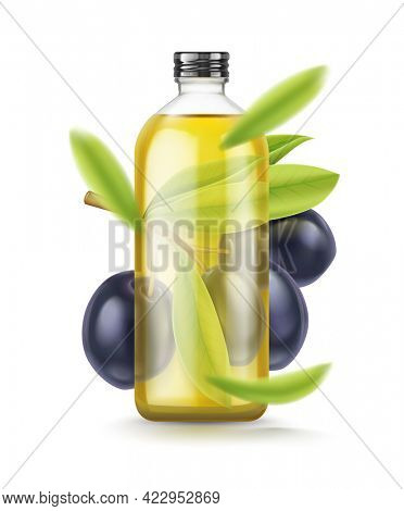 Olive Oil glass bottle. Realistic black olives branch leaves. Extra virgin olive oil mockup design, natural organic cosmetics, healthcare product isolated on white background. 3D illustration.