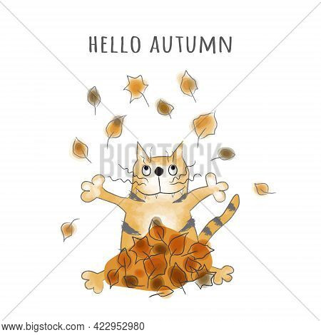 Happy Ginger Tabby Cat Tosses Yellow Leaves Up. Hello Autumn. Cartoon Vector Illustration, Design Fo