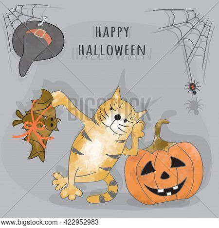 Greetings Happy Halloween Card. Funny Cartoon Ginger Tabby Cat Holds A Bat Tied With A Gift Ribbon.