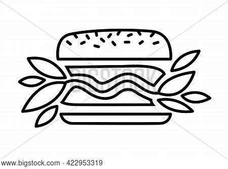 Vegan Burger Vector Black Line Icon. Plant Based Hamburger. Green Leaves Instead Of Meat Cutlet. Foo