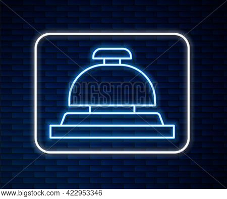 Glowing Neon Line Hotel Service Bell Icon Isolated On Brick Wall Background. Reception Bell. Vector
