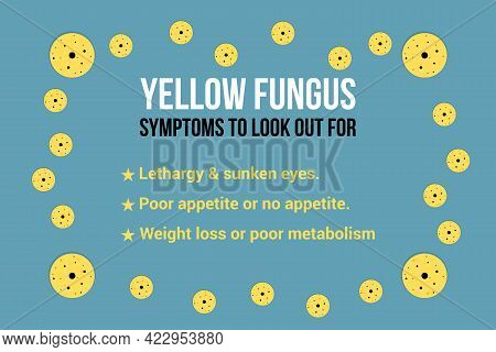 Yellow Fungus Disease Symptoms Infographic And Fungus Symbols On Blue Background. Medical Awareness