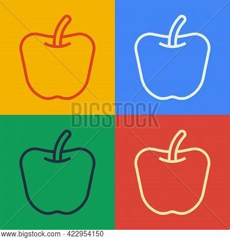 Pop Art Line Apple Icon Isolated Pop Art Line Background. Excess Weight. Healthy Diet Menu. Fitness