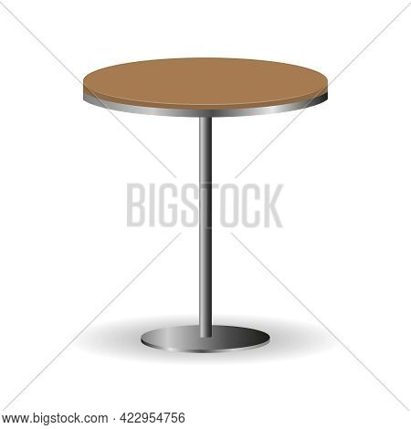 Table, Round Table With Wooden Cover Isolated On White Background. Vector Illustration. Vector.