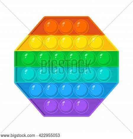 Colorful Octagon Fidget Antistress Sensory Toy For Kids. Fidget Sensory Pop It And Simple Dimple Tre