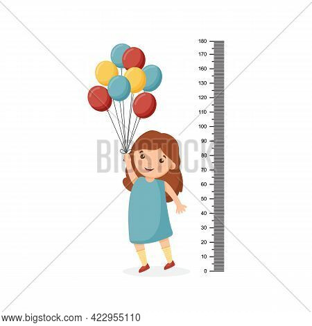 Cartoon Cute Girl Measuring Her Height With A Large Ruler And Standing On Tiptoe And Holding Balloon