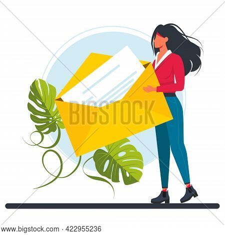 Tiny Woman Hold Huge Yellow Envelope. Characters Writing, Sending Or Getting Post Mails Messages Con