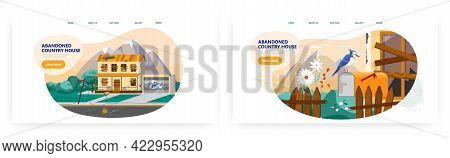 Abandoned Country House Landing Page Design, Website Banner Vector Template. Countryside Building, B
