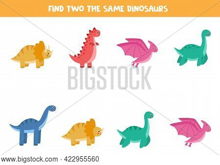 Find Two The Same Dinosaurs. Educational Logical Game For Kids.