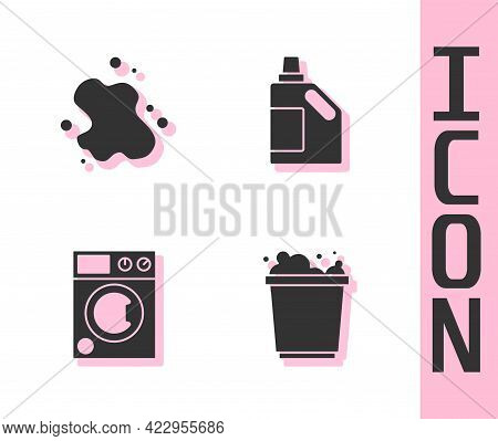 Set Bucket With Foam, Water Spill, Washer And Bottle For Cleaning Agent Icon. Vector