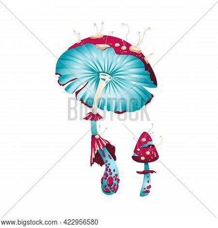 Magic Fantasy Mushroom, Unusual Glowing Fabolous Fly Agaric A Vector Illustration