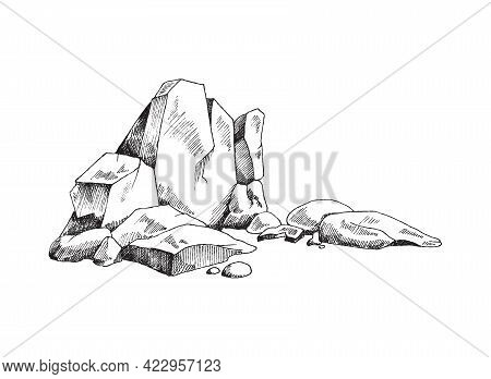 Rock Ruins Or Heap Of Stones Engraving Vector Illustration Isolated On White.