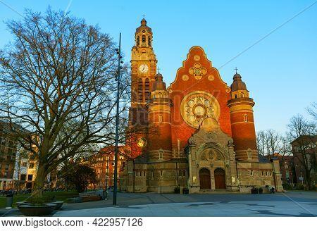 St John Church Malmo Sweden . Swedish Johannes Kyrka .  Art Nouveau Lutheran Church Features Stone-c
