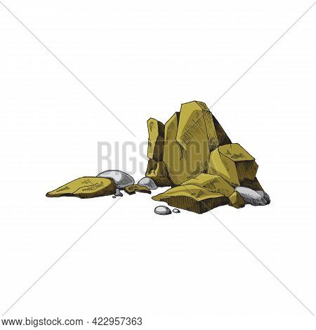 Colored Rocks Or Heap Of Stones Engraving Vintage Vector Illustration Isolated.