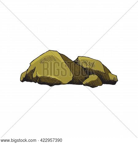 Colored Heap Of Rocks In Engraving Vintage Style, Vector Illustration Isolated.