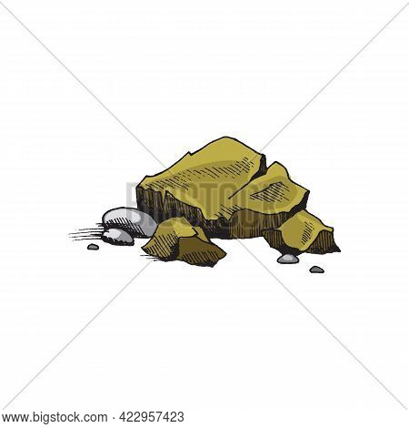 Heap Of Greenish Stones Engraving Vintage Vector Illustration Isolated.