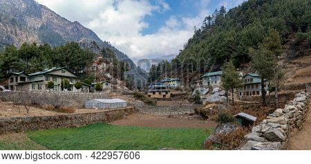 A Small Town In The Mountains Of Nepal On The Lukla To Namche Bazaar Trek.