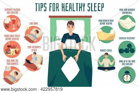 Vector Banner With Reasons Of Sleeping Problems And Tips For Prevent To Insomnia