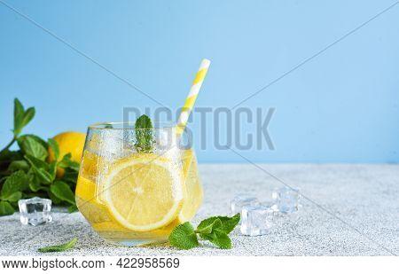 Cold Lemonade With Mint And Lemon Juice. Fresh Summer Drink. Mahito With Lemon.