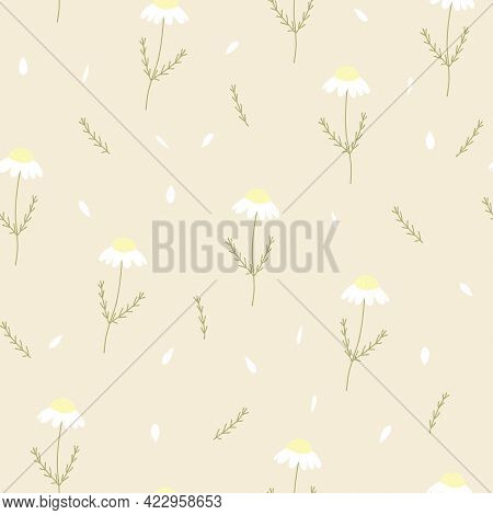 Vector Seamless Pattern With Chamomile And Petals On Yellow Background. For  Decoration, Invitation