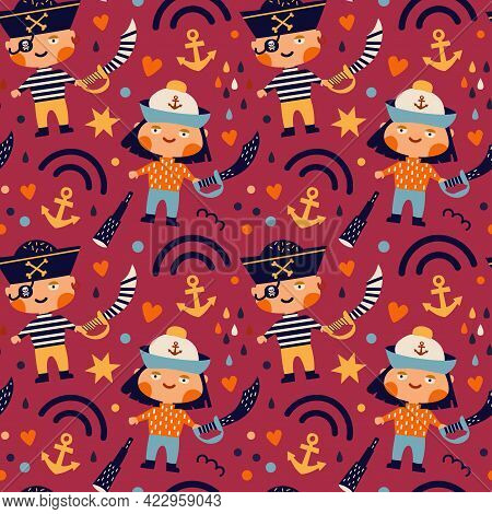 Vector Illustration. Seamless Pattern On A Pirate Theme. Girl And Boy Pirates. Saber, Spyglass, Rain