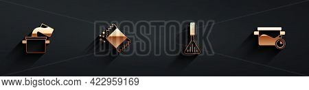 Set Cooking Pot, Packet Of Pepper, Barbecue Spatula And Icon With Long Shadow. Vector