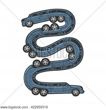 Long Limousine Car Like A Snake Color Line Art Sketch Engraving Vector Illustration. T-shirt Apparel