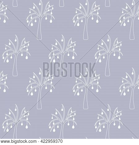 Easter Tree. Drawing With White Lines. Seamless Horizontal Border. Repeating Vector Pattern. The Pla