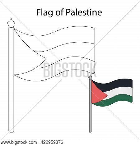 Palestine Flag. Color The Flag According To The Suggested Example. Vector Illustration. Coloring Boo