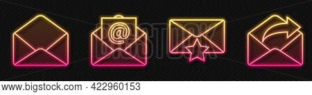 Set Line Envelope With Star, Envelope, Mail And E-mail And Outgoing Mail. Glowing Neon Icon. Vector