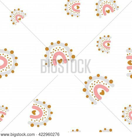 Vector Cute Seamless Pattern With Colored Rainbow. Simple Repeated Texture With Scandinavian Element