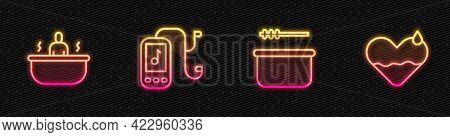 Set Line Sauna Bucket And Ladle, Bathtub, Music Player And Heart Heal. Glowing Neon Icon. Vector