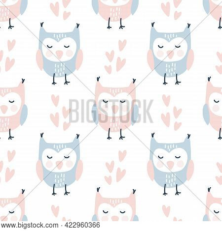 Scandinavian Valentine Love Seamless Pattern With Cute Owls And Hearts, Endless Romantic Texture. Cu