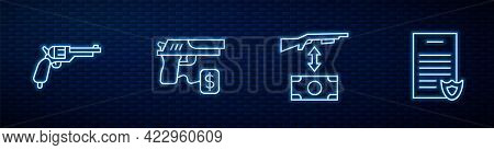 Set Line Buying Assault Rifle, Revolver Gun, Pistol And Firearms License Certificate. Glowing Neon I
