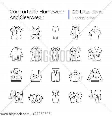 Comfortable Homewear And Sleepwear Linear Icons Set. Female Nightwear. Male Sportswear. Funny Slippe