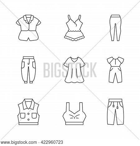 Comfortable Homewear Linear Icons Set. Silk Nightwear. Leggings, Joggers. Denim Jacket. Oversized Dr