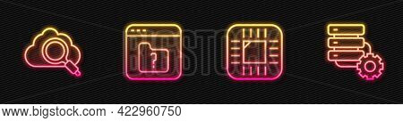 Set Line Processor With Cpu, Search Cloud Computing, File Missing And Server And Gear. Glowing Neon