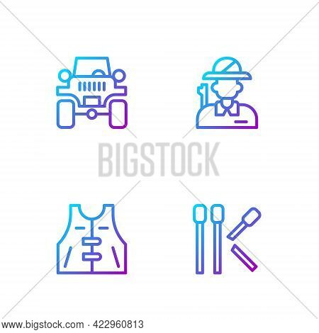 Set Line Matches, Hunting Jacket, Off Road Car And Hunter. Gradient Color Icons. Vector