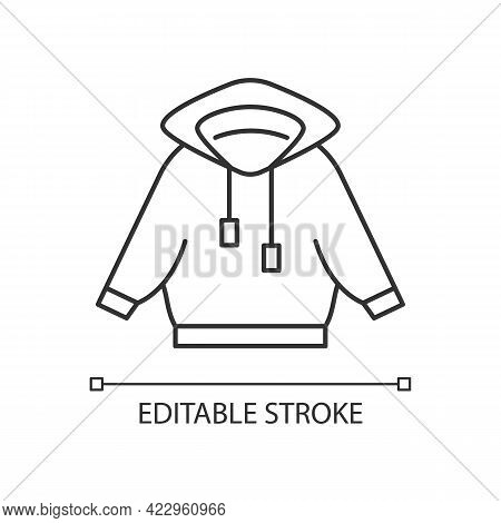 Home Outfit With Hoodie Linear Icon. Hooded Jacket. Sporty Outfit. Unisex Sportswear. Thin Line Cust