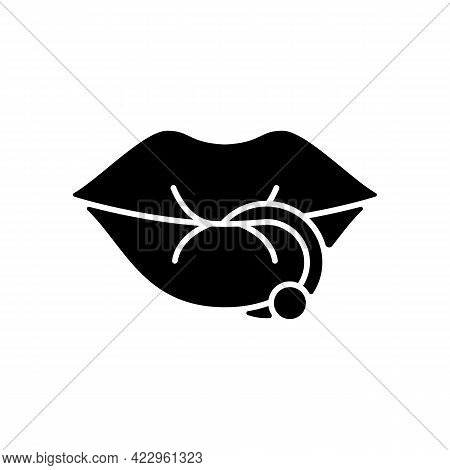 Lip Piercing Black Glyph Icon. Beautiful Jewellery Type Inserted Into Lip. Metal Needles For Making
