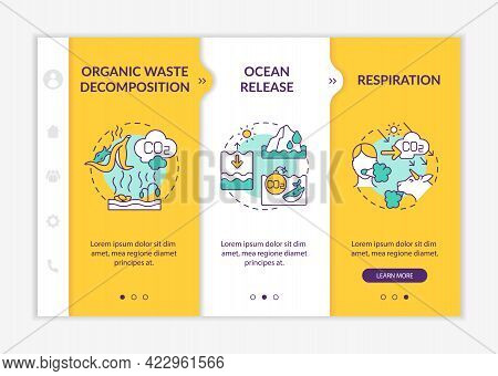 Natural Carbon Dioxide Sources Onboarding Vector Template. Responsive Mobile Website With Icons. Web
