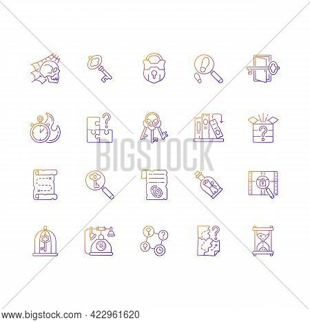 Escape Room Gradient Linear Vector Icons Set. Challenge For Logic Skills. Solving Puzzles. Mystery Q