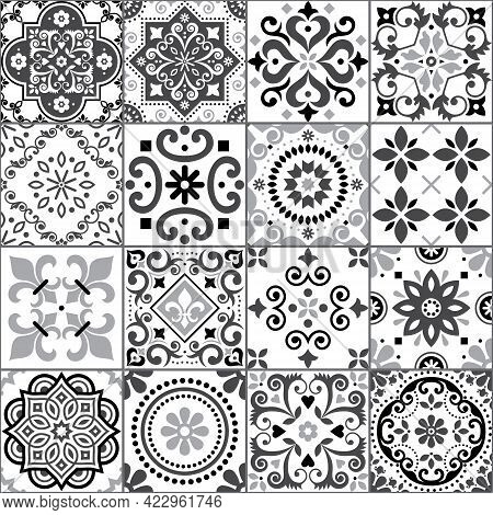 Portuguese And Spanish Azulejo Tiles Seamless Vector Pattern Collection In Gray On White, Traditiona
