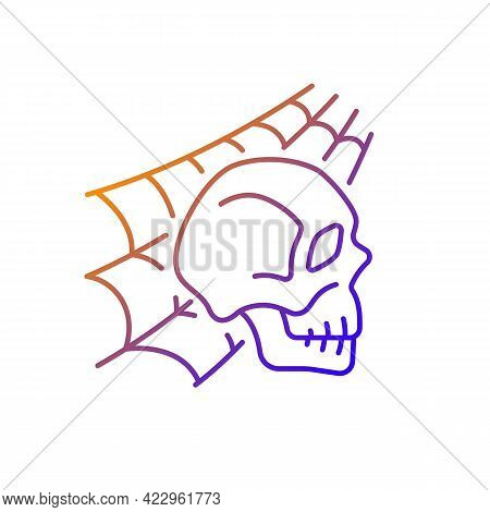 Skull With Spider Web Gradient Linear Vector Icon. Horror Story. Halloween Decoration. Solve Puzzle,