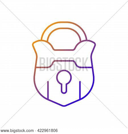 Lock Gradient Linear Vector Icon. Vintage Padlock. Unlock Safeguard. Solving Puzzles, Clues For Ridd