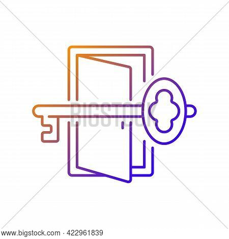 Finding Key To Get Out Gradient Linear Vector Icon. Gain Access To Open Door. Solving Puzzles, Clues