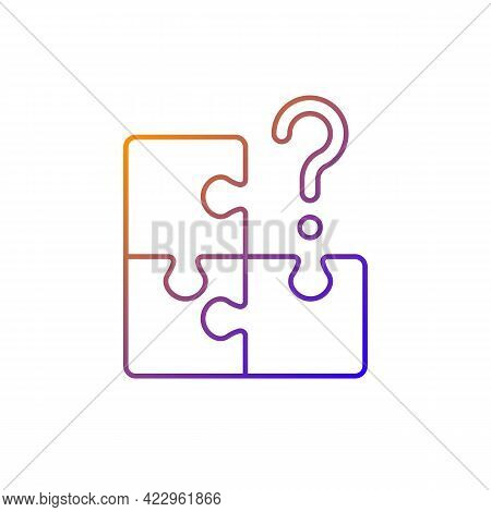 Mosaic Gradient Linear Vector Icon. Search For Missing Piece. Challenge For Logic. Solving Jigsaw, C