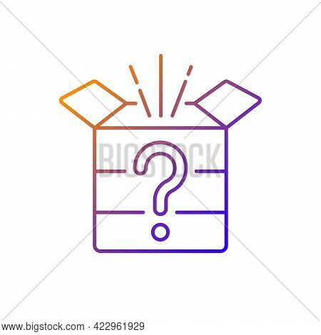 Mystery Box Gradient Linear Vector Icon. Chest With Question Mark. Win Surprise. Solving Puzzles, Cl